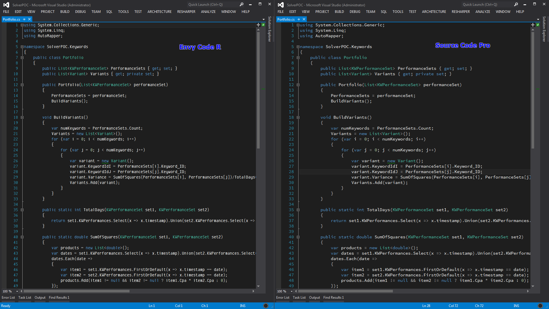 Coding Fonts: Envy Code R, Consolas, and Adobe's Source Code