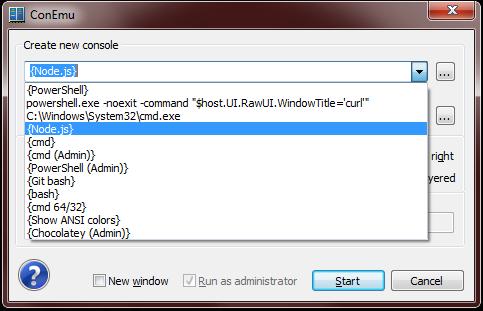 ConEmu New Console Dialog - NodeJS